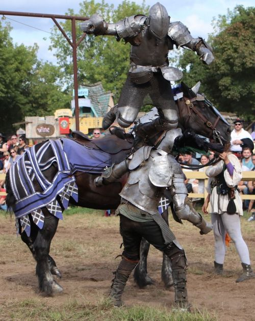 Knights in action at the 2018 Renaissance Festival - photograph by C.S. Hagen