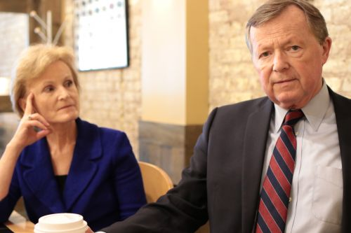 Former U.S. Representative for North Dakota Earl Pomeroy and former Deputy Secretary of Health and Human Services Mary Wakefield - photograph by C.S. Hagen