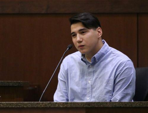Savanna Greywind's boyfriend, Ashton Matheny, testifying in court - photograph by C.S. Hagen