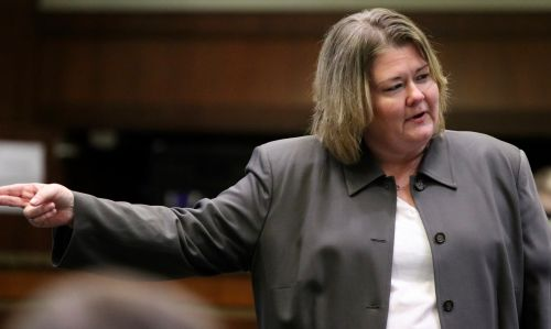 State's Attorney Leah Viste in closing arguments - photograph by C.S. Hagen
