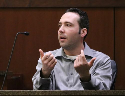 Wiliam Henry Hoehn testifying in court - photograph by C.S. Hagen