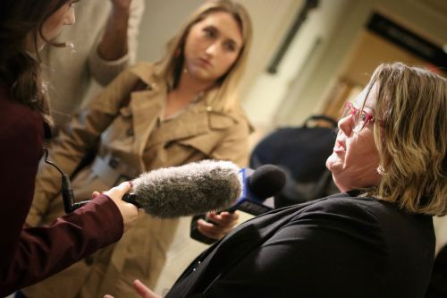 Cass County State's Attorney Leah Viste talks to reporters after verdict is read - photograph by C.S. Hagen