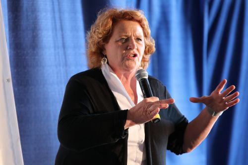 U.S. Senator Heidi Heitkamp speaking - photograph by C.S. Hagen