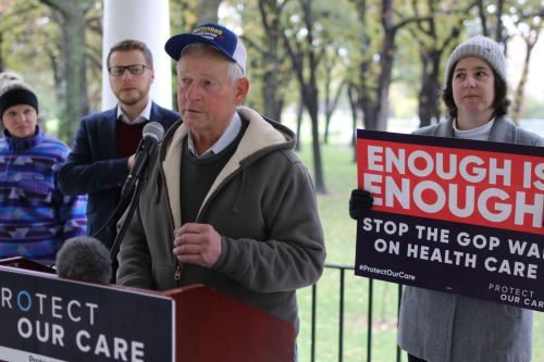 Candidate for state Agricultural Commissioner, Jim Dotzenrod, speaking out about how farmers will be affected by health care issues - photograph by C.S. Hagen