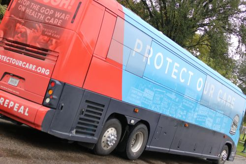 Protect Our Care bus making its way across the nation - photograph by C.S. Hagen