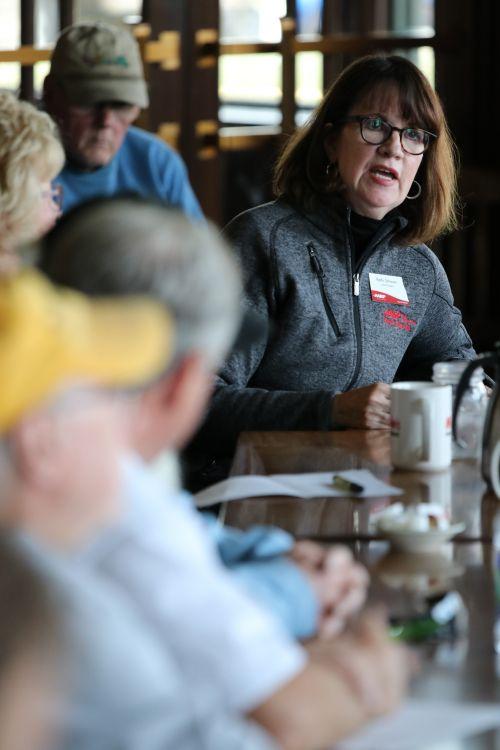Kathy Schwan of AARP discussing tactics - photograph by C.S. Hagen