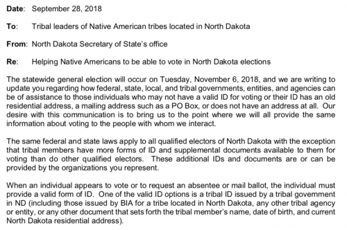 North Dakota Secretary of State email alerting Natives to the law changes on September 28, 2018