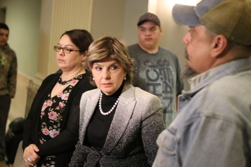 Attorney Gloria Allred, the Greywind family attorney, speaking to the press - photograph by C.S. Hagen