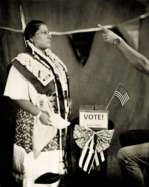 Margaret Landin and Dan Francis - Necessary P.O. Box Not Allowed - wet plate collodion photograph by Shane Balkowitsch recently named Shadow Catcher in Hidatsa