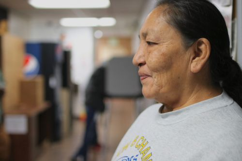 Darlene Chasing Hawk, member of the Standing Rock Sioux Tribe, and an activist, at the County Auditors office voting poll - photograph by C.S. Hagen