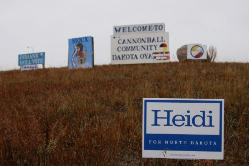 Signs for Senator Heidi Heitkamp are everywhere at Standing Rock - photograph by C.S. Hagen