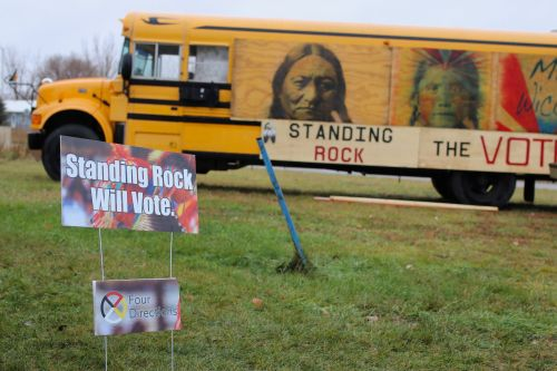 Standing Rock's bus that will transport people to and from the polls on November 6 - photograph by C.S. Hagen