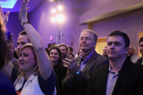 Fargo Mayor Tim Mahoney was present while Heidi Heitkamp gave her final speech - photograph by C.S. Hagen