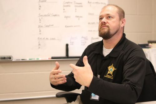 Community Supervision Unity Corporal Chad Violet speaks about how his department is preparing for the holidays - photograph by C.S. Hagen