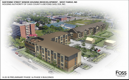 View of Monterey Apartments & The Bridges - rendering provided by Housing Authority of Cass County