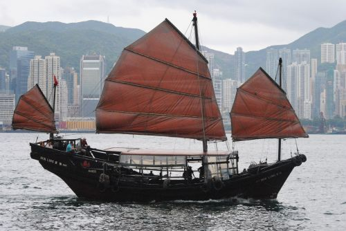Chinese junk duk ling in Hong Kong Bay - photograph by C.S. Hagen