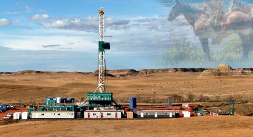 Natives on horseback with oil production - AIC website