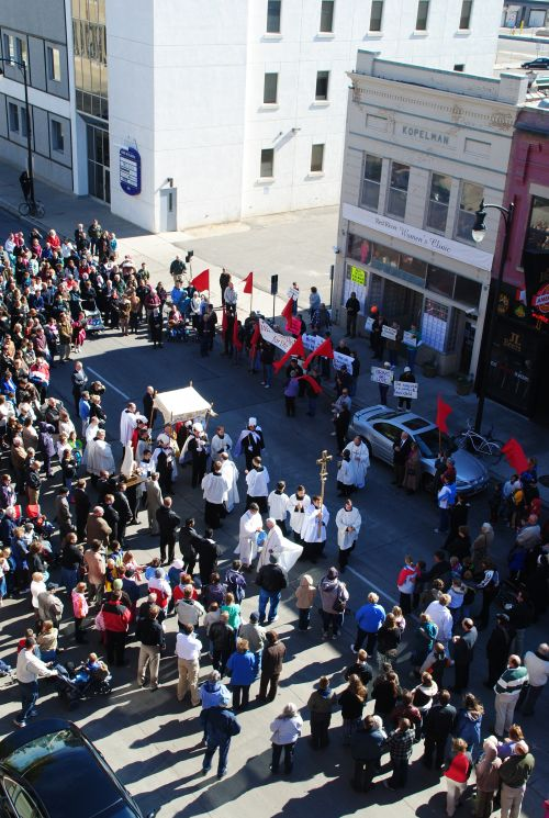 Protest in downtwon Fargo against the Red River Women's Clinic in 2014 - photograph by C.S. Hagen