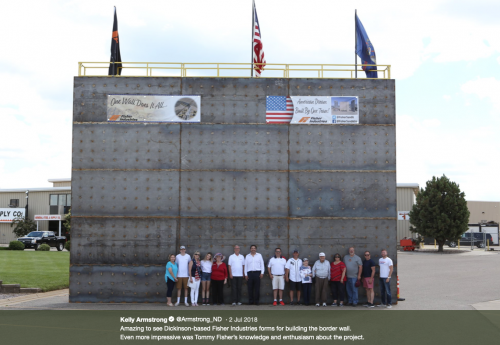 Congressman Kelly Armstrong, Senator Kevin Cramer, and others including Fisher Industries in a picture of the company's proposed replica for Trump wall - Kelly Armstrong Twitter