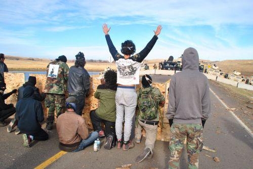Protesters such as these on Highway 1806 would be included in the North Dakota Senate bills - photograph by C.S. Hagen
