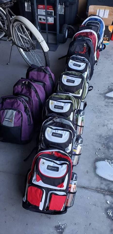 Backpacks for the homeless - photograph by Blye Dalluge