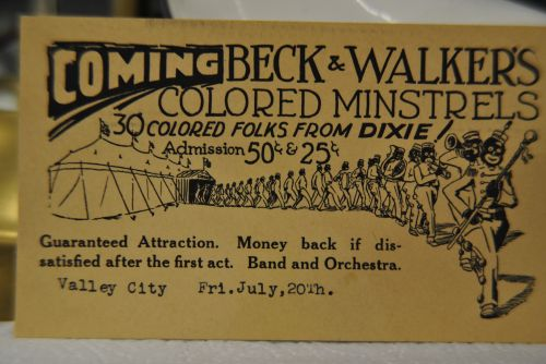 Beck and Walkers Colored Minstrels ticket from Barnes County Museum - photograph by C.S. Hagen