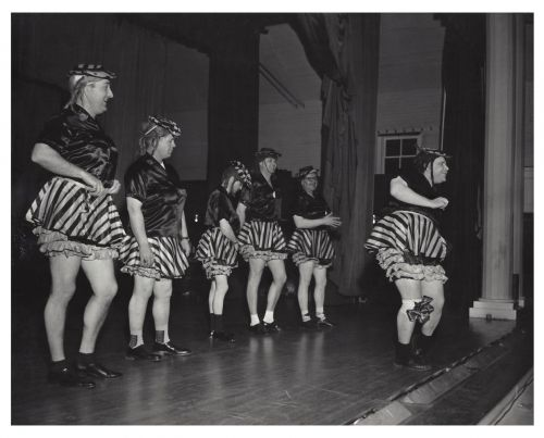 Male performers in women's clothing act the Fargo Elks Lodge