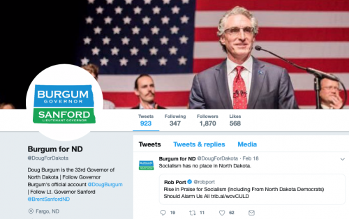 Governor Doug Burgum's Tweet on February 18, 2019 - Twitter