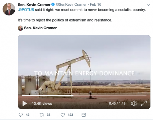 Senator Kevin Cramer's Tweet on February 16, 2019 - Twitter