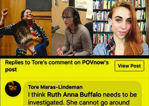 Left to right - Representative Ruth Buffalo, Representative Karla Rose Hanson, and writer Josie Danz.