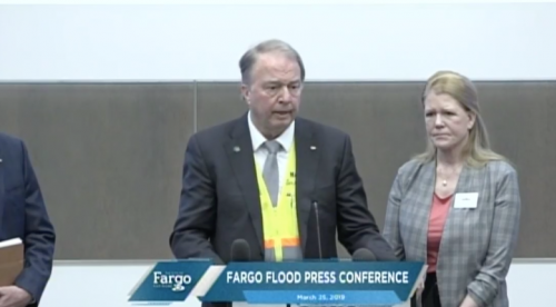 Fargo Mayor Tim Mahoney and Cass County Commissioner Mary Scherling at flood press conference - City of Fargo stream screenshot