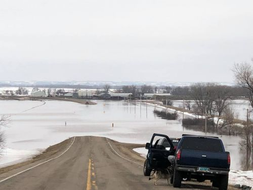 Flooding occurred in Sioux County, Solen, ND, along Highway 24 where an ice jam flooded the road - Facebook Margaret Gates