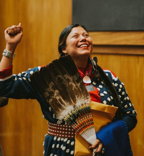 Ruth Buffalo in traditional attire at North Dakota State Capitol - Facebook picture