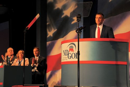 Congressman Kelly Armstrong during the ND GOP Convention 2018 - photograph by C.S. Hagen