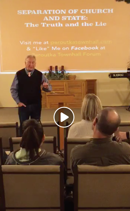 Screenshot of Michael Anthony Peroutka speaking at a church in early March - Facebook