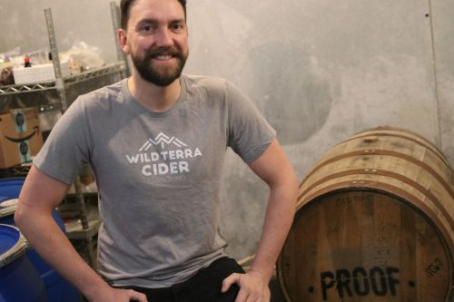 Ethan Hennings in the city's only urban cidery - photograph by C.S. Hagen