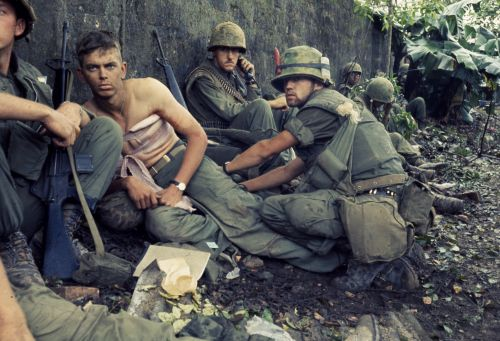 Twentieth century angel of mercy — Navy Hospital Corpsman D. R. Howe - Glencoe, MN treats the wounds of Private First Class D A. Crum - Fifth Marine Regiment during Operation Hue City - Sergeant William F. Dickman, February 6, 1968