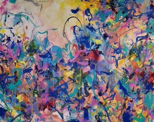 Ashley Kunz, Come Away With Me, 2019, Acrylics, inks, aerosols on canvas
