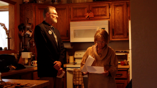 Jerry and Patty Wetterling prepare to address the media at their home just days after Danny Heinrich is named a person of interest - photograph by Chris Newberry