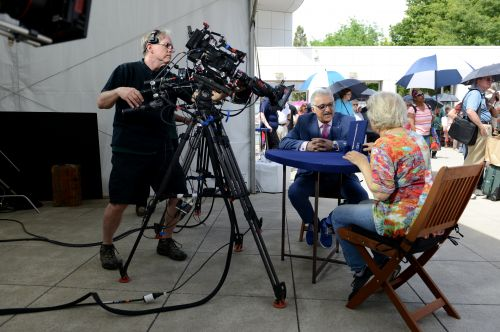 Kevin Zavian left appraises an item at the ANTIQUES ROADSHOW production event on Monday, May 13, 2019 at the Crocker Art Museum in Sacramento, CA. - photograph by Meredith Nierman for WGBH