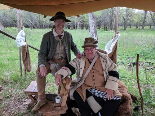 High Plains Regional Rendezvous participants wearing fur trader era clothing - photograph by Ryan Janke