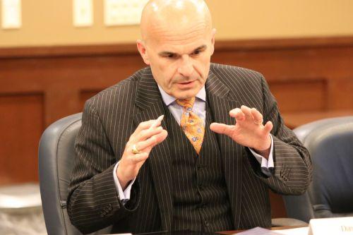 Attorney David Chapman explaining his view - photograph by C.S. Hagen