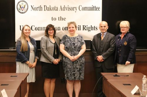 Stephanie Johnson, Michelle Rydz, Kirsten Dauphinais, David Chapman, and Crystal Dueker - members present during the US Commission on Civil Rights meeting - photograph by C.S. Hagen
