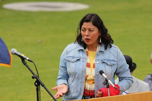 Fargo Representative Ruth Buffalo speaking - photograph by C.S. Hagen