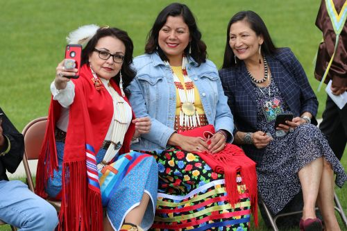 Native politicians - South Dakota's Tamara St. John, Fargo's Ruth Buffalo, and New Mexico's Debra Haaland - photograph by C.S. Hagen