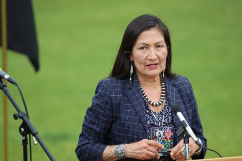 New Mexico Representative Debra Haaland speaking - photograph by C.S. Hagen