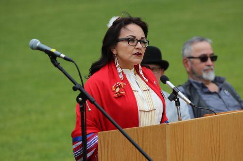 South Dakota District 1 Representative Tamara St. John speaking - photograph by C.S. Hagen