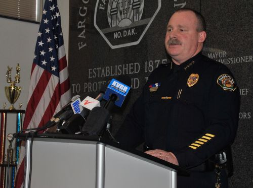 Fargo Police Chief David Todd during a press conference - photograph by C.S. Hagen