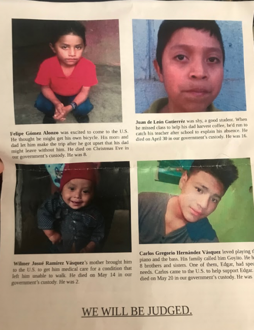 Poster of children who have died along the southern border - photograph by Melissa Gonzalez
