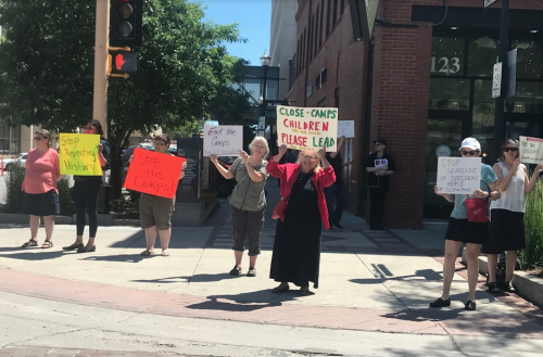 Protestors outside Senator John Hoeven's office - photograph by Melissa Gonzalez